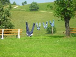 Eine große und drei kleine Jeanshosen auf der Wäscheleine